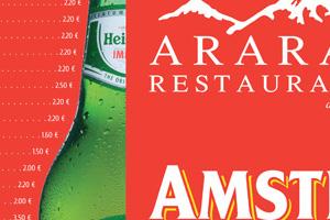 Diseño Cartas Restaurante Ararat