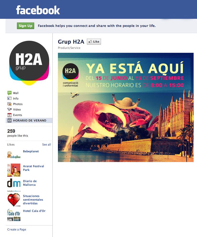 Fan page de H2a en Facebook