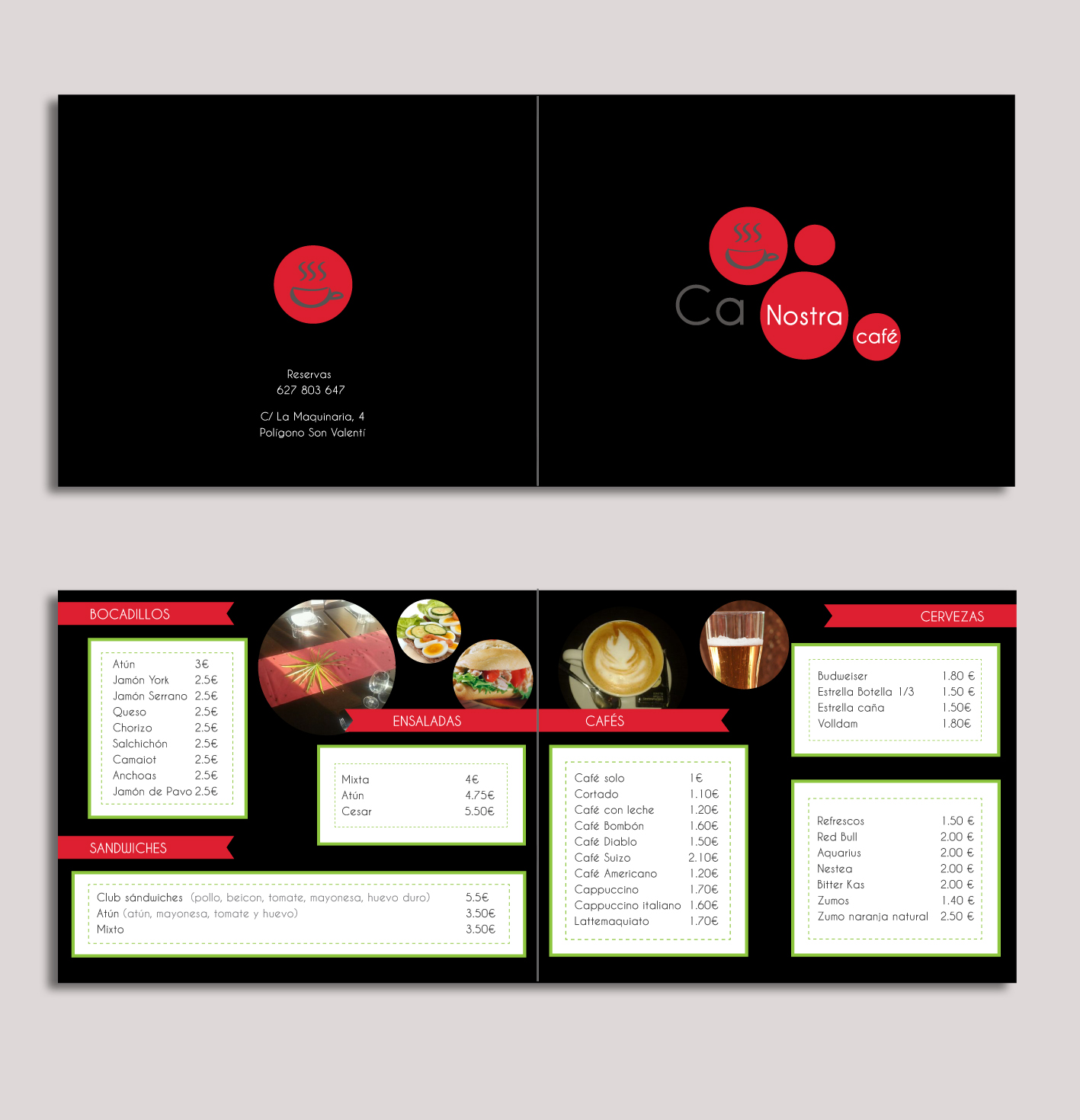 Dise o cartas restaurante ca nostra h2a comunicaci - Disenos para restaurantes ...