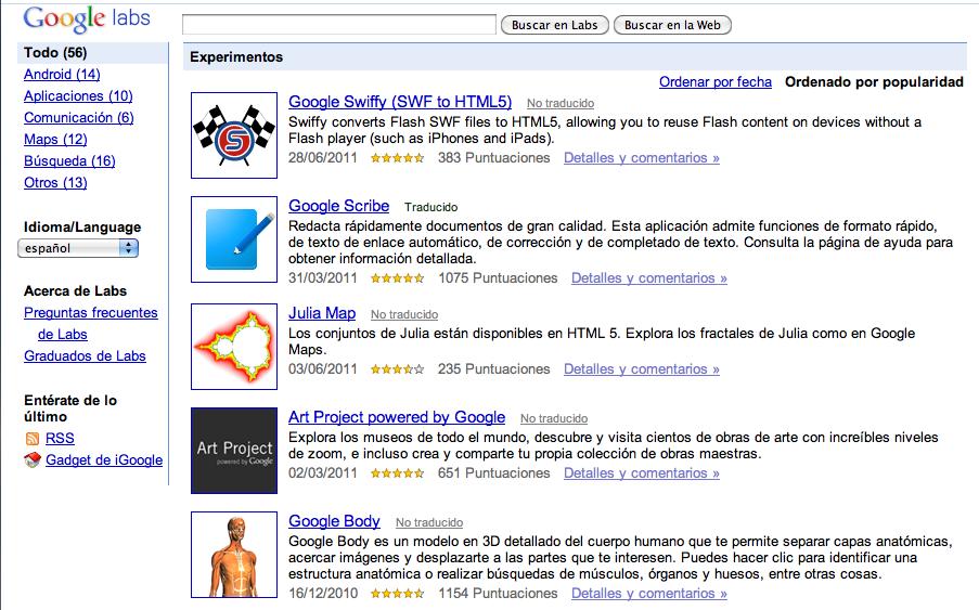Página web de Google Labs
