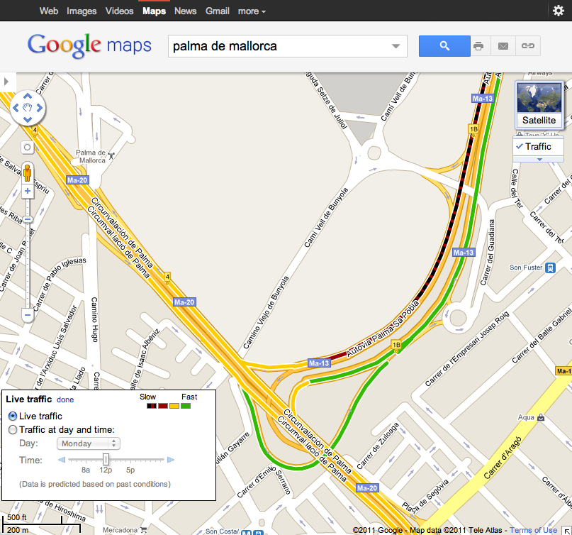 Mapa de Palma de Mallorca con Google Maps Traffic