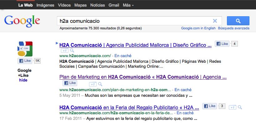 Resultados de la búsqueda H2a Comunicació con Me gusta y +1