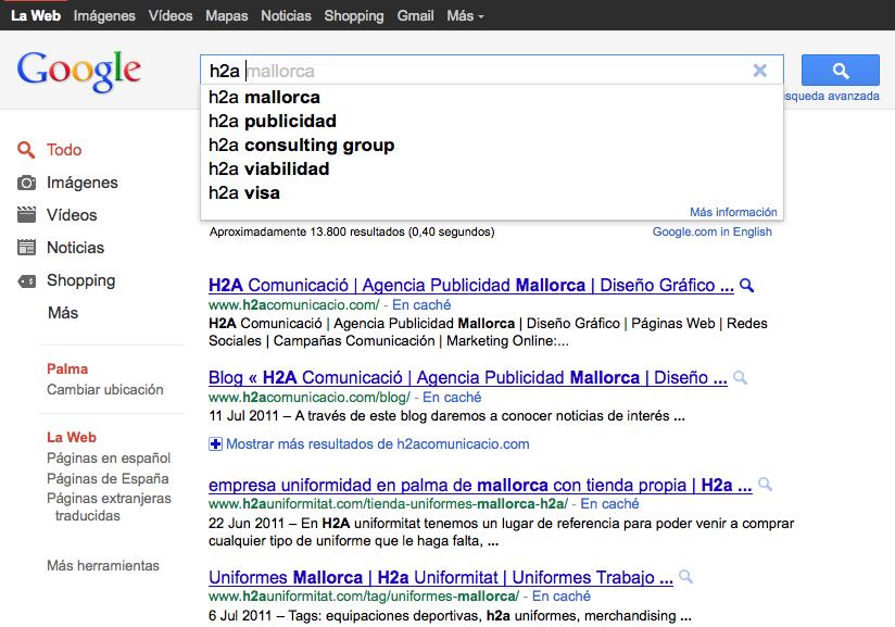 Buscando H2a en Google con Firefox