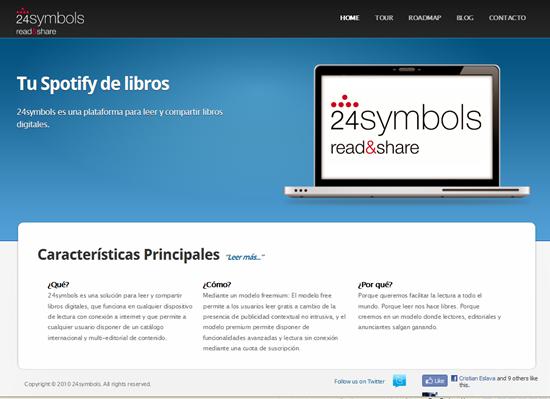 Captura de pantalla de 24symbols, el Spotify de los libros