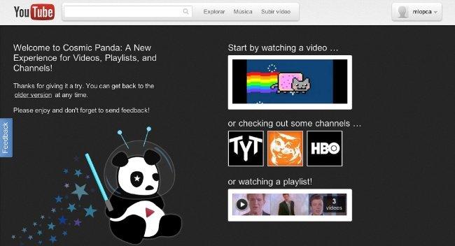 Activa ya el nuevo diseño de YouTube Cosmic Panda