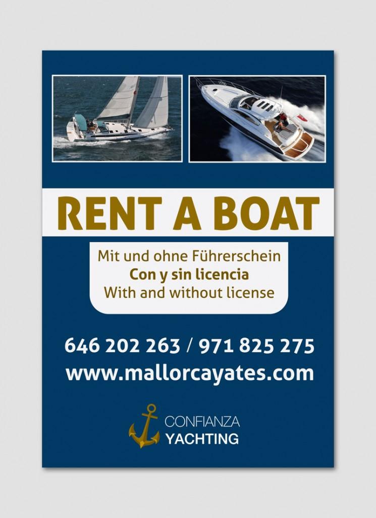 diseño gráfico letrero promoción empresa barcos