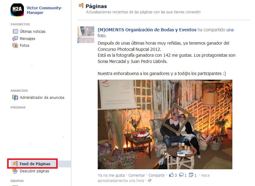 feed de paginas de facebook 2012