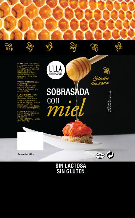 diseño gráfico etiqueta miel con sobrasada