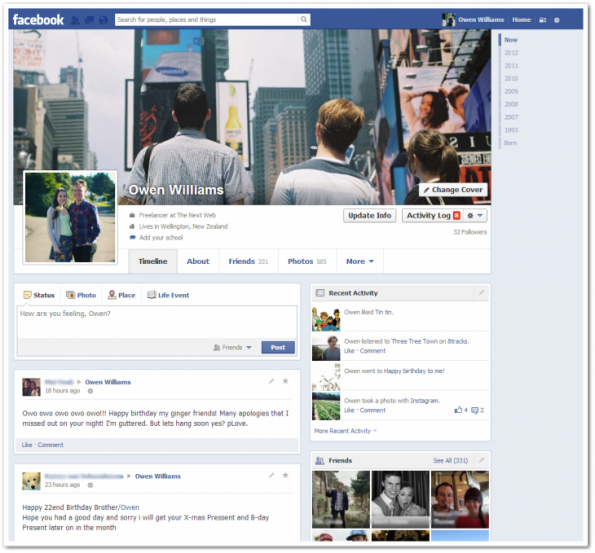 Nuevo perfil de Facebook de una columna